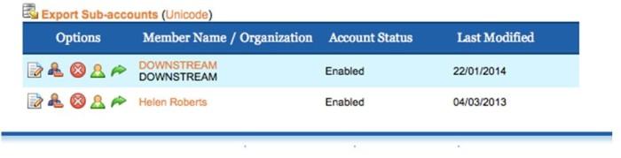 Export Sub-accounts screen