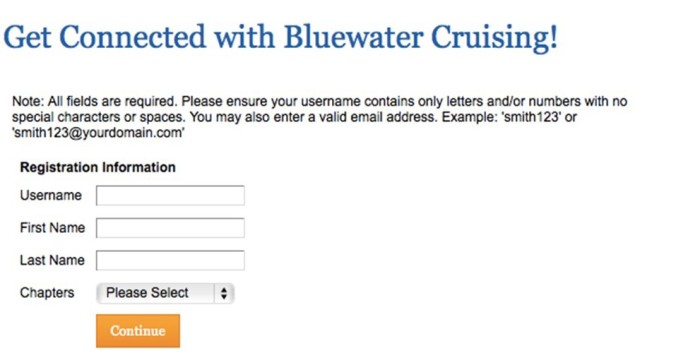 Get Connected with Bluewater Cruising! screen