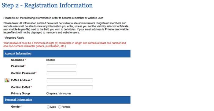 Registration Information screen
