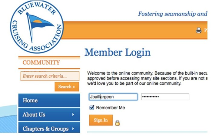 Member Log-in screen with completed fields