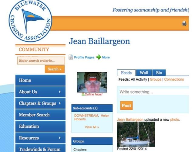 Jean's Log-in screen