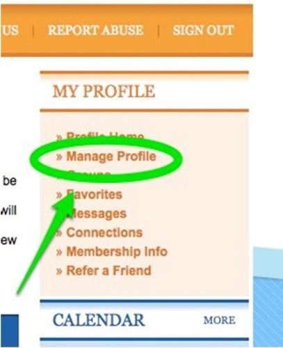 My Profile - Manage Profile screen