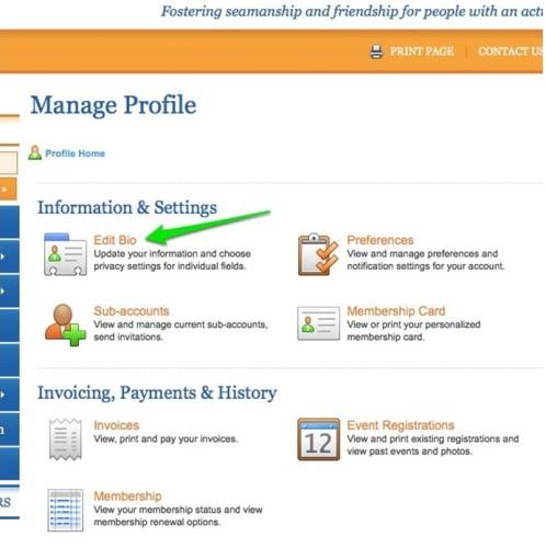 Manage Profile - Edit Bio screen