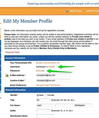 Edit My Member Profile screen