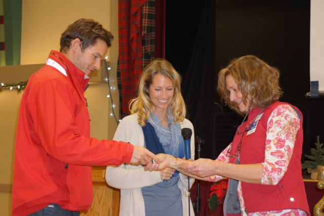 "Will and Sarah Curry receiving their ""Offshore Award"" from BCA Commodore Jennifer Handley"