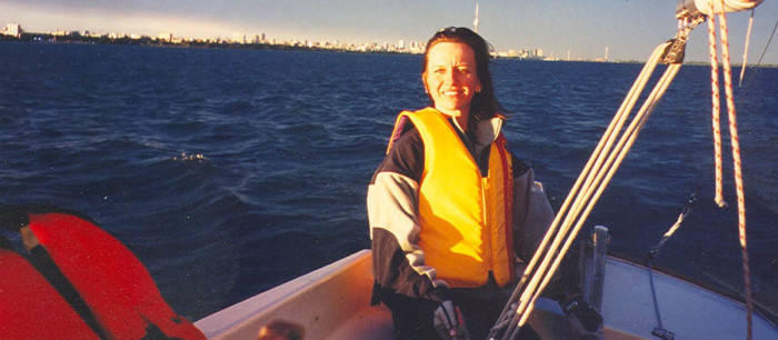 Carol started sailing at the age of 40, taking courses on Lake Ontario. She enjoyed being at the tiller of this 24' Shark. These experiences helped solidify her love for the sport and the cruising life to come