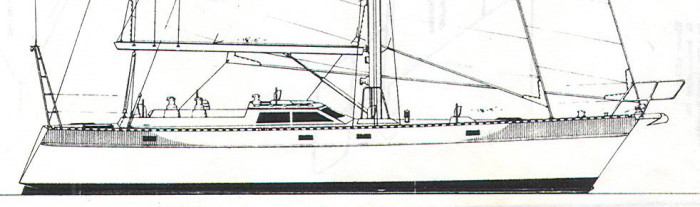 Ted Brewer's design #218, originally designed for steel construction. Many of Ted's designs have sailed to every corner of the world.