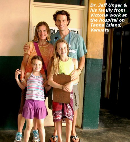 Dr. Jeff Unger and his family from Victoria work at the hospital on Tanna Island, Vanuatu