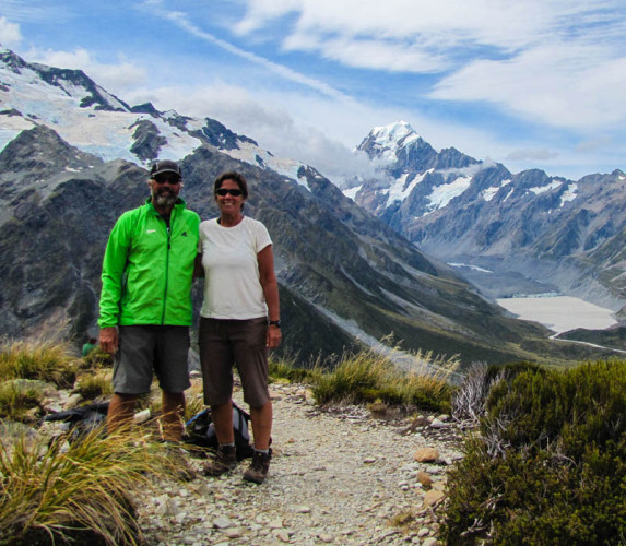 Jim & Katie on a short but steep hike near Mt Cook in New Zealand.