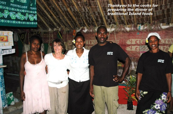Thank you to the cooks for preparing the dinner of traditional island foods