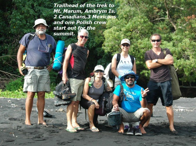 Trailhead of the trek to Mt. Marum, Ambrym Island - 2 Canadians, 3 Mexicans, and 1 Polish crew start out for the summit