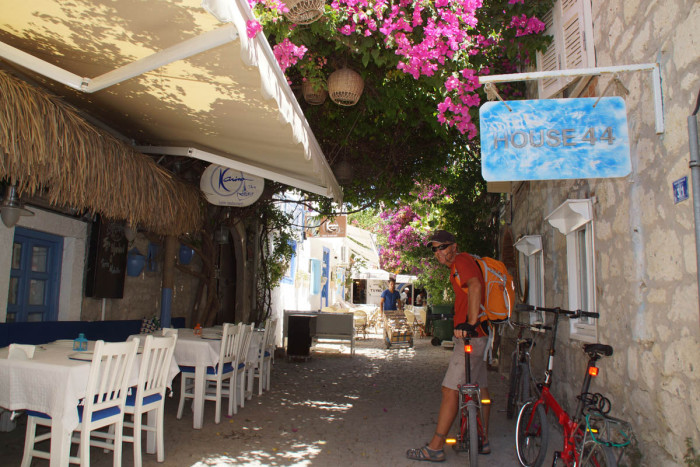Exploring the town of Alacati, Turkey on bikes
