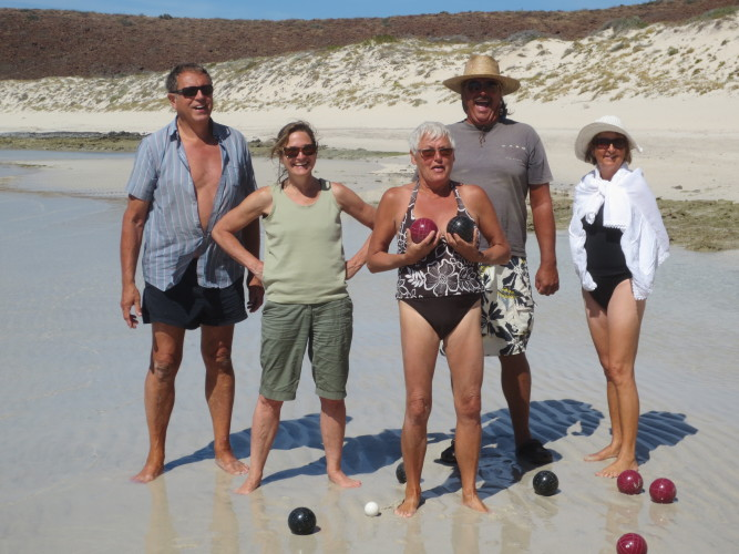 Good times again! A game of bocce ball in 2014: Jon, Jennifer, Thea, Donna and Dennis (S/V Ez Does It)