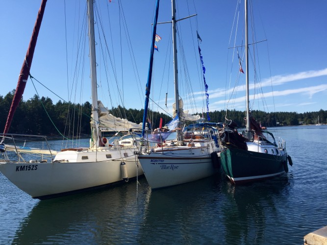 Sylph VI, Blue Rose, and Sea Fever waiting for slack water in Gabriola Passage.