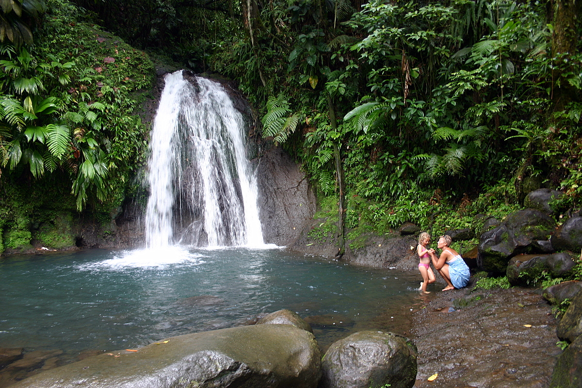 Swimming at the waterfalls in Guadeloupe