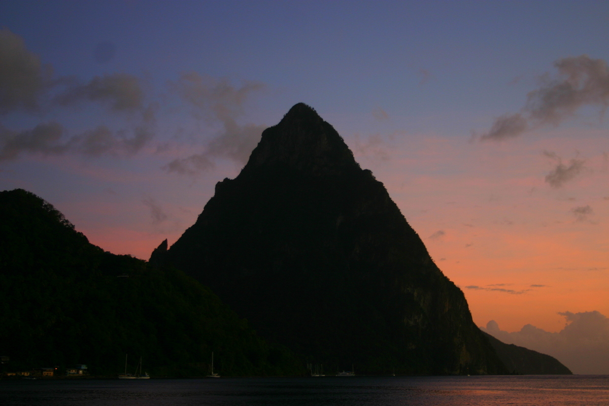 The Pitons at sunset, St Lucia