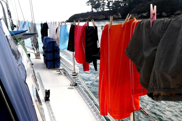 Our soggy clothes hanging to dry on Sarah Jean's life lines.