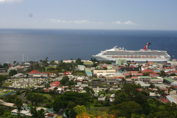 Cruise ships dominate the town of Roseau, Dominica