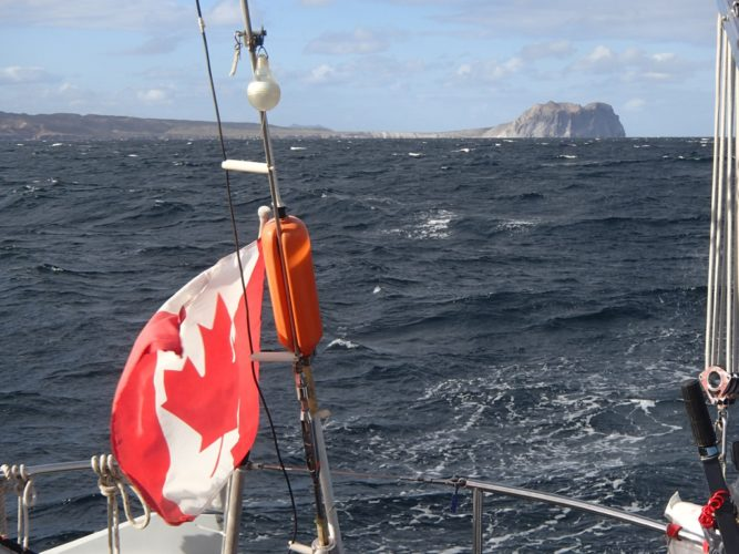 A 'sporty' downwind sail off Punta Pulpito, Central Sea of Cortez in December. Sorry we were too busy when the water spout was chasing us to get a photo.