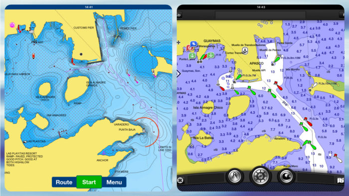 Notice the difference in the display of aids to navigation.
