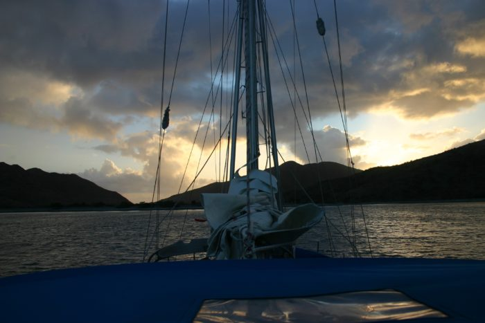 Getting ready to leave as the sun rises over St Kitts
