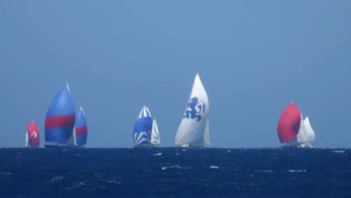 The racing fleet bears down on us