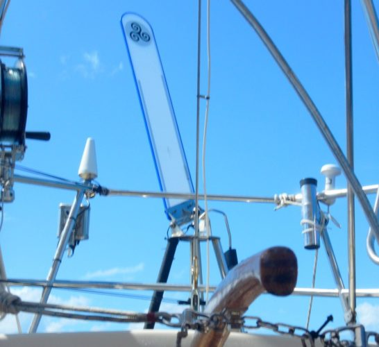 The Norrie's third crew member – Monty – their Monitor Wind Vein helm. Indispensable!